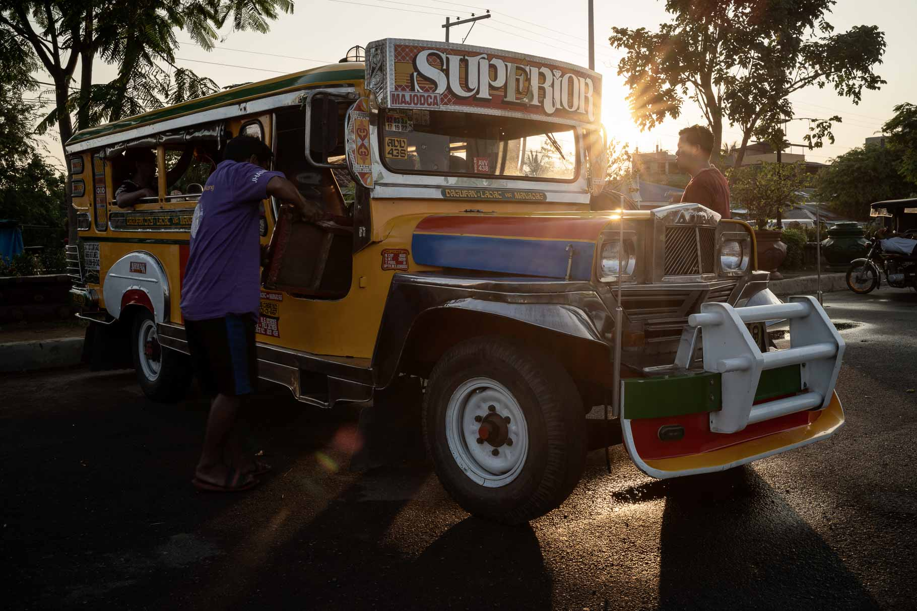 A jeepney in the sunset